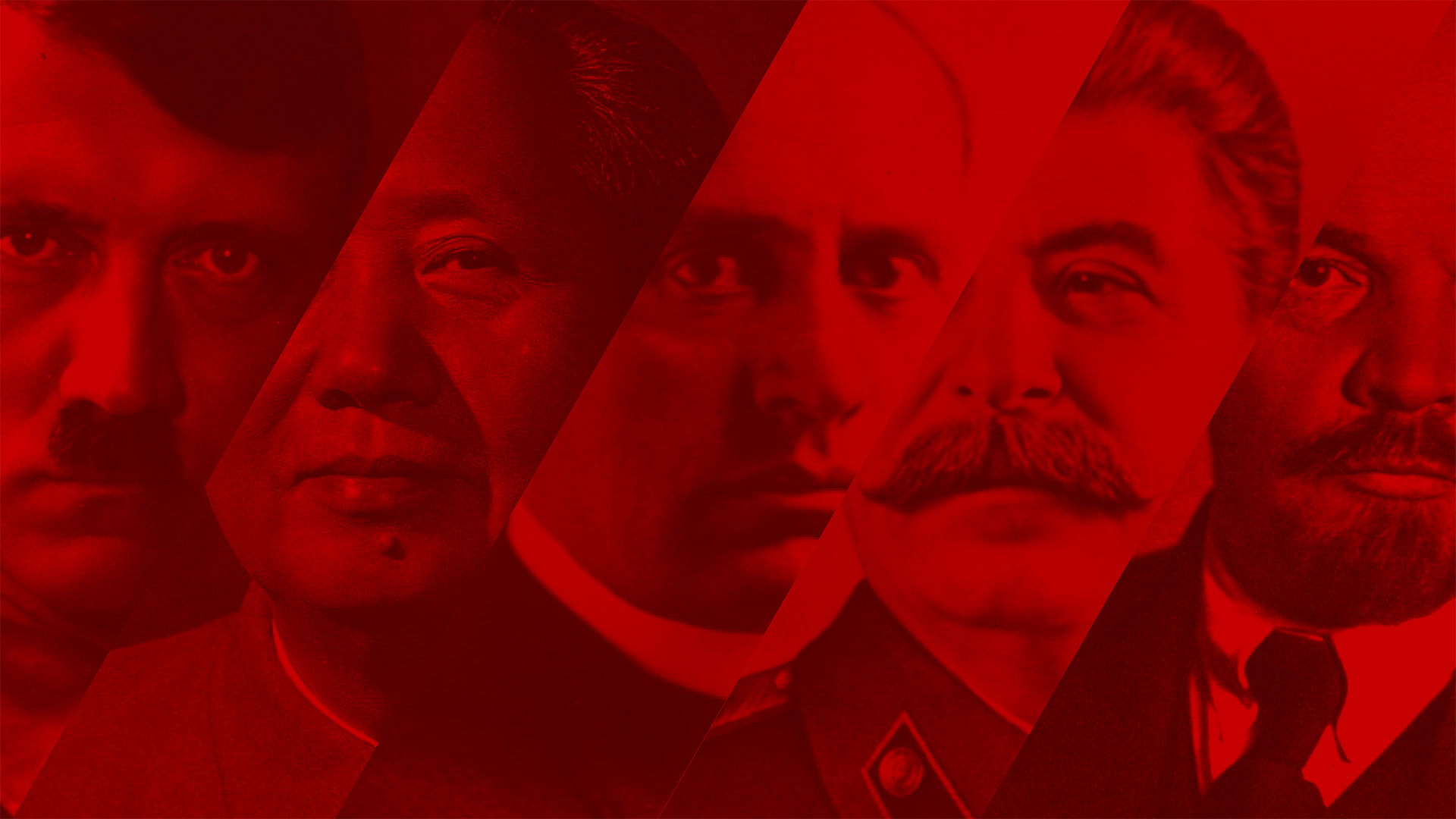 Collage of Hitler, Mao, Mussolini, Stalin and Lenin