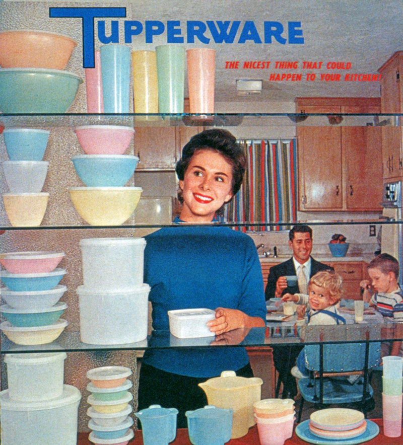 Kitchen filled with Tupperware products, 1958