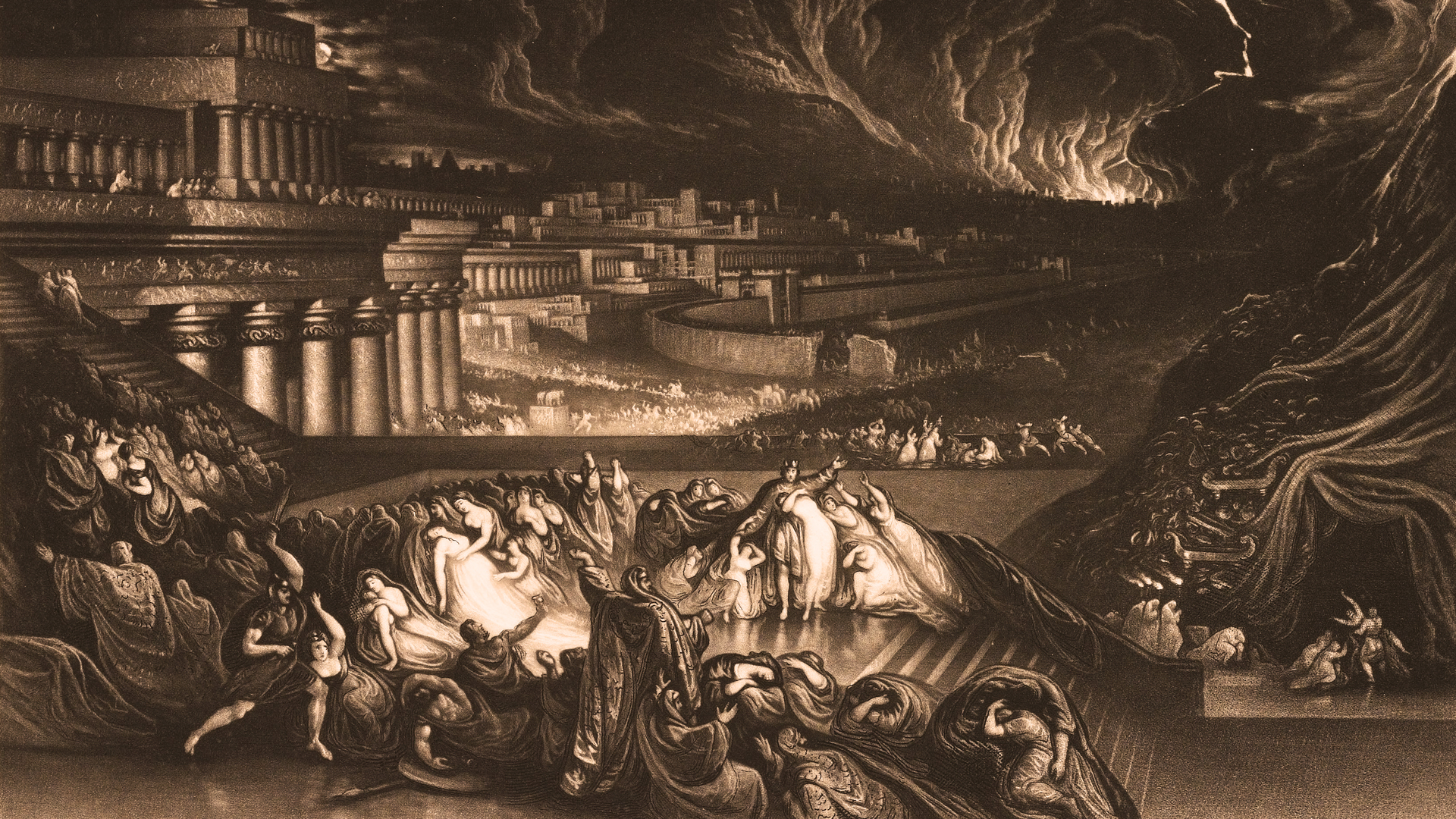 John Martin's 1835 mezzotint depicting the fall of Nineveh in 612 BCE
