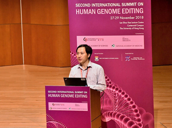 He Jiankui at 2nd International Summit on Human Genome Editing discusses birth of twins whose genes he edited using CRISPR