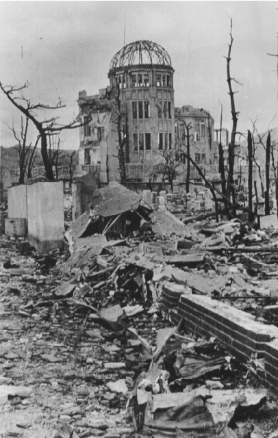 Post-bomb skeletal ruins of Hiroshima Prefectural Industrial Promotion Hall, October 1945