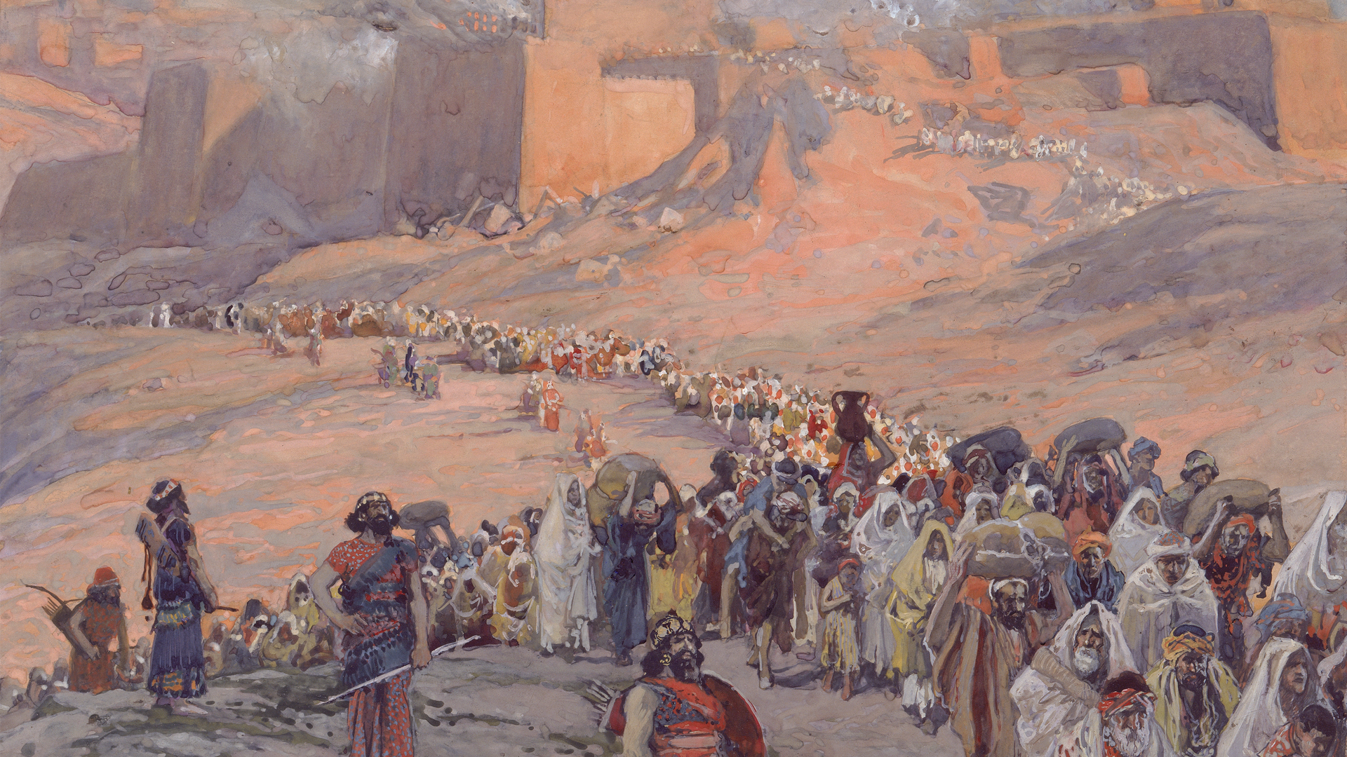 James Tissot painting depicting Jewish captives fleeing Jerusalem in 6th century BCE