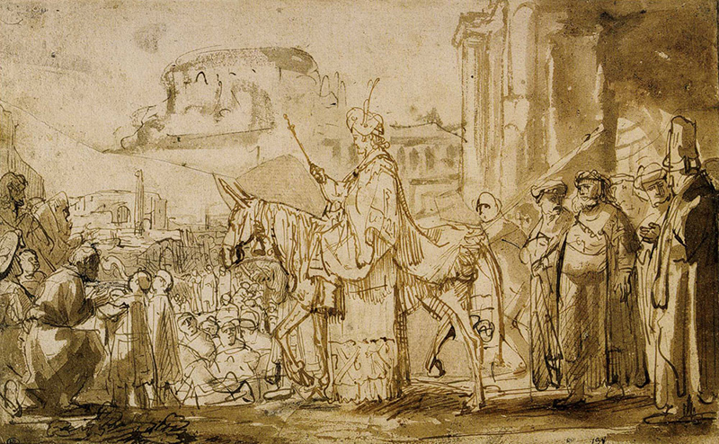 Young Solomon Proclaimed King, Riding on the Mule, by Rembrandt